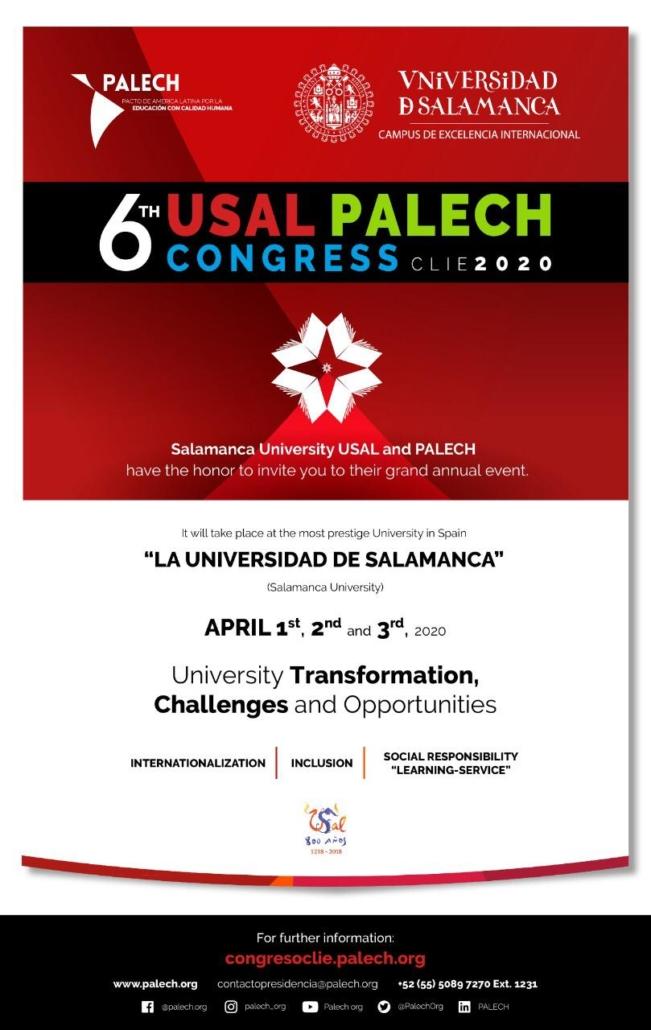 "6th International Congress of Educational Research USAL-PALECH ""CLIE 2020"""